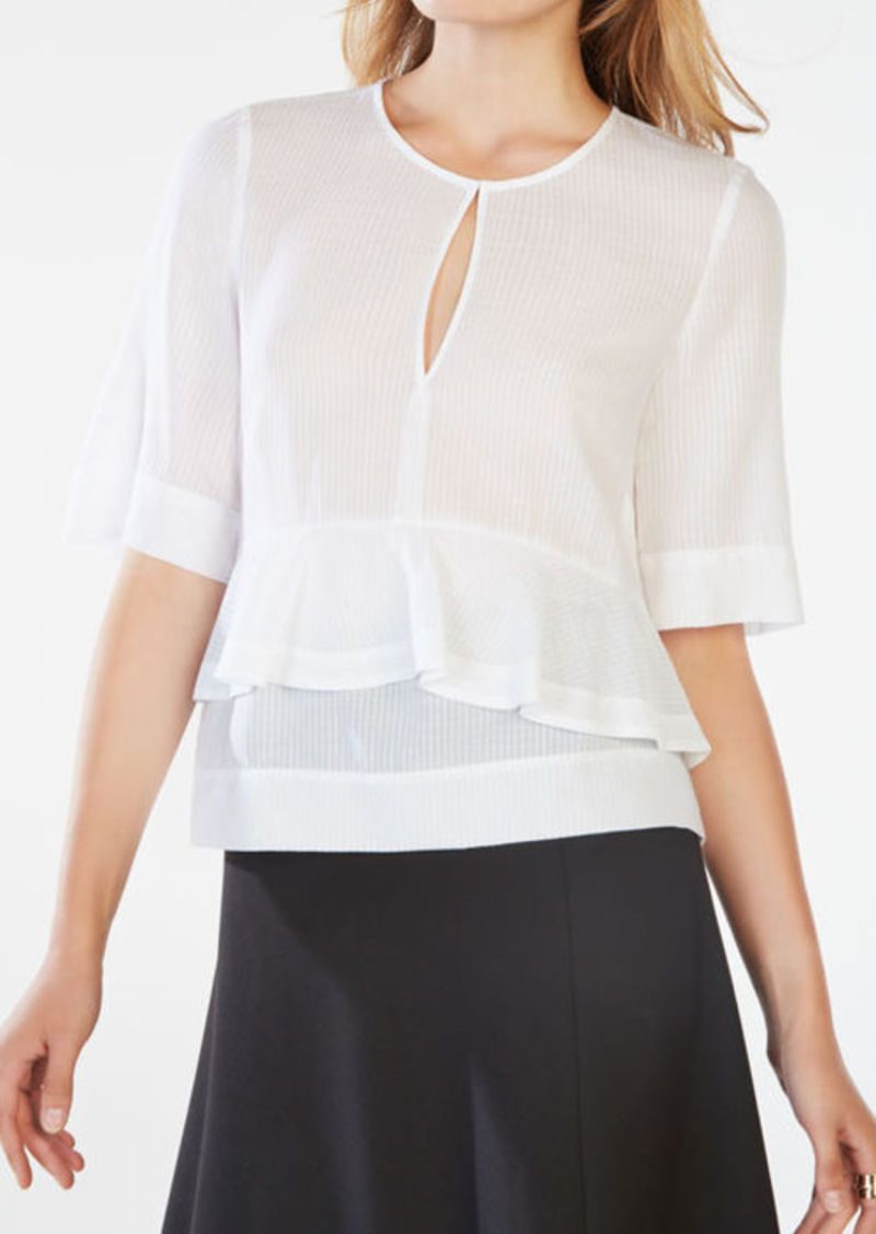 BCBG Brittan Striped Peplum Top