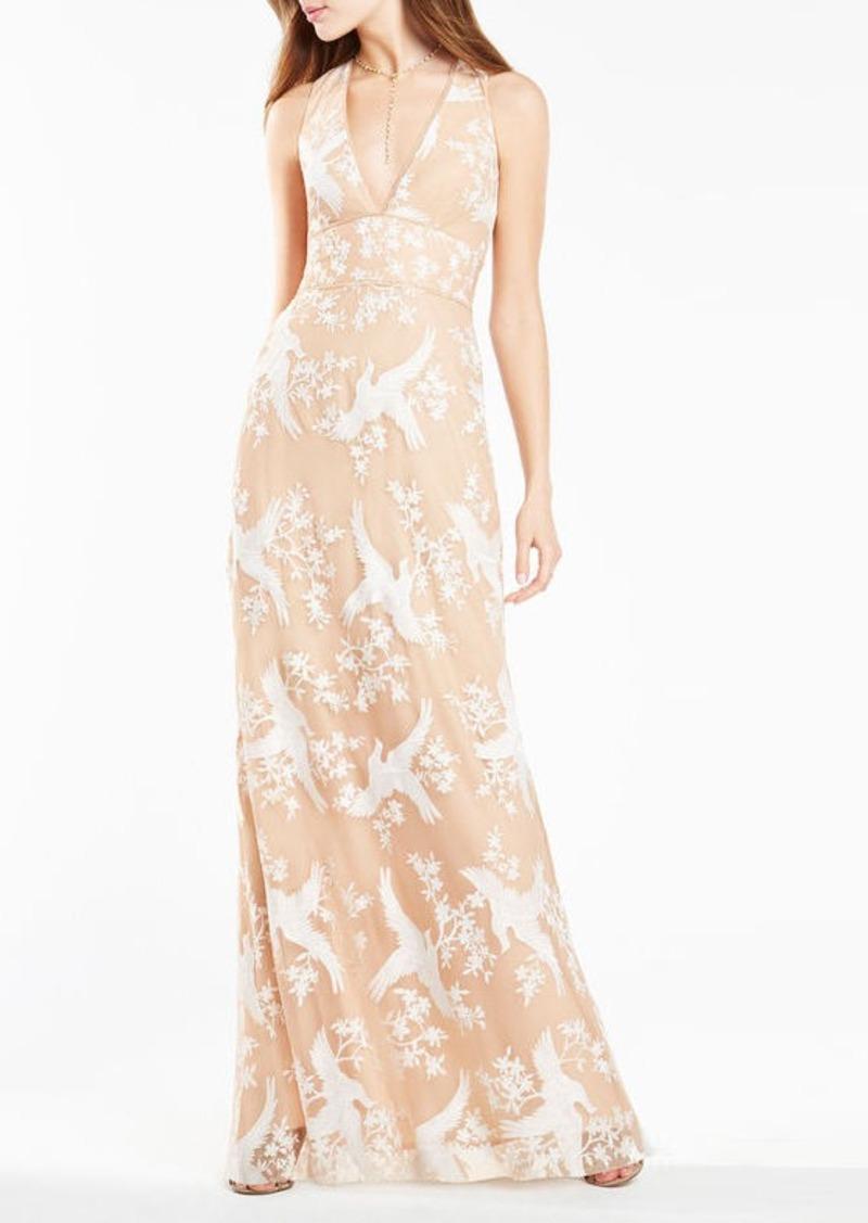 BCBG Cecilia Dove Embroidered Gown