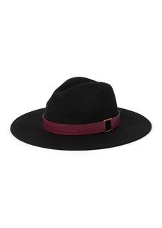 BCBG Croc Embossed Trim Panama Hat