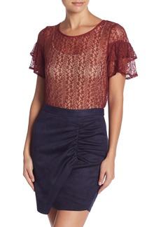 BCBG Cross Back Ruffle Sleeve Lace Blouse