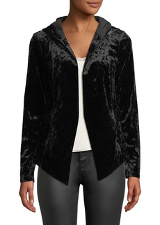Crushed Velvet Hooded Tuxedo Blazer