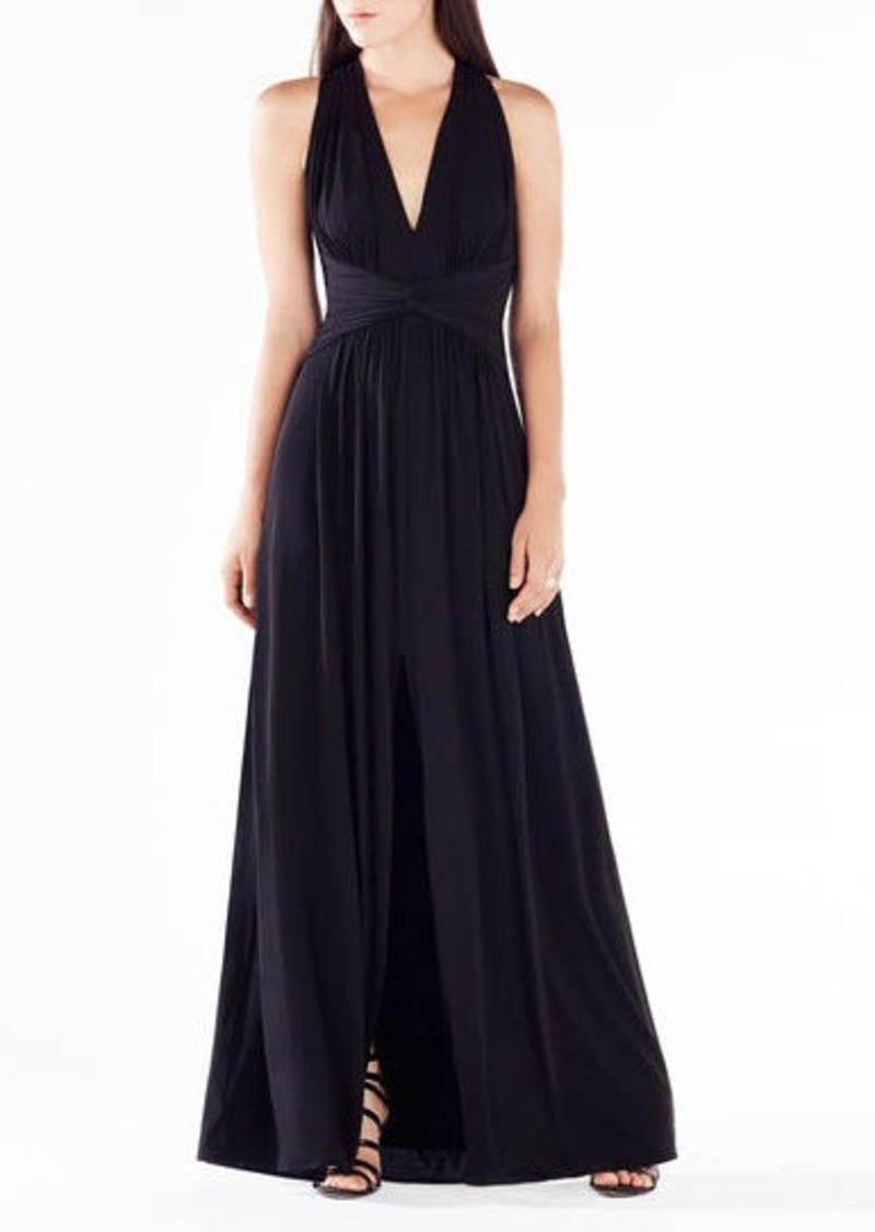 BCBG Danicka Deep-V Open-Back Gown