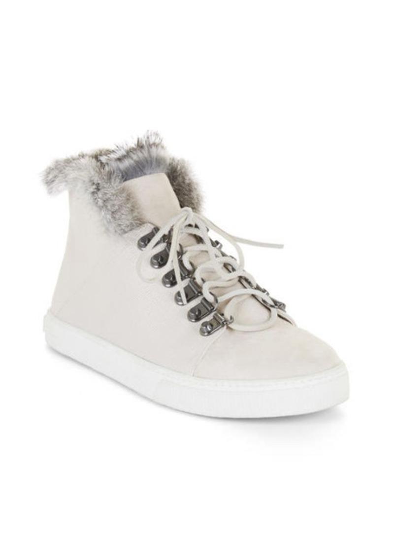 BCBG Deniz Fur Trim Lace-Up High-Top Sneaker