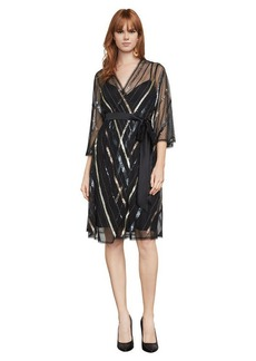 Devon Sequin Faux-Wrap Dress