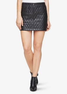 BCBG Dotty Quilted Faux-Leather Skirt
