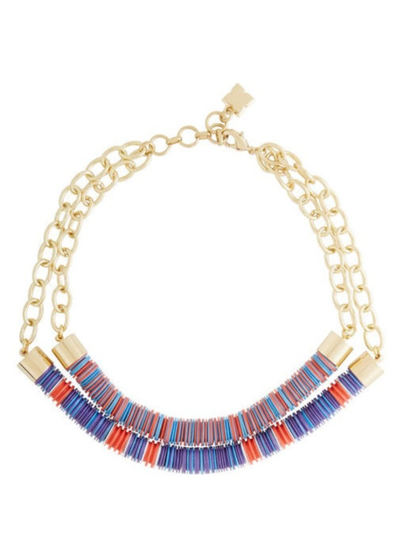 BCBG Dual Beaded Chain Tribal Necklace