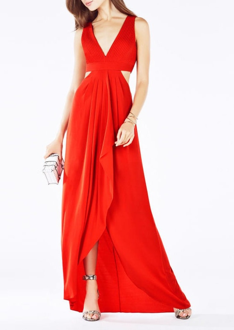 BCBG Elinne Cutout Pleated Jersey Gown