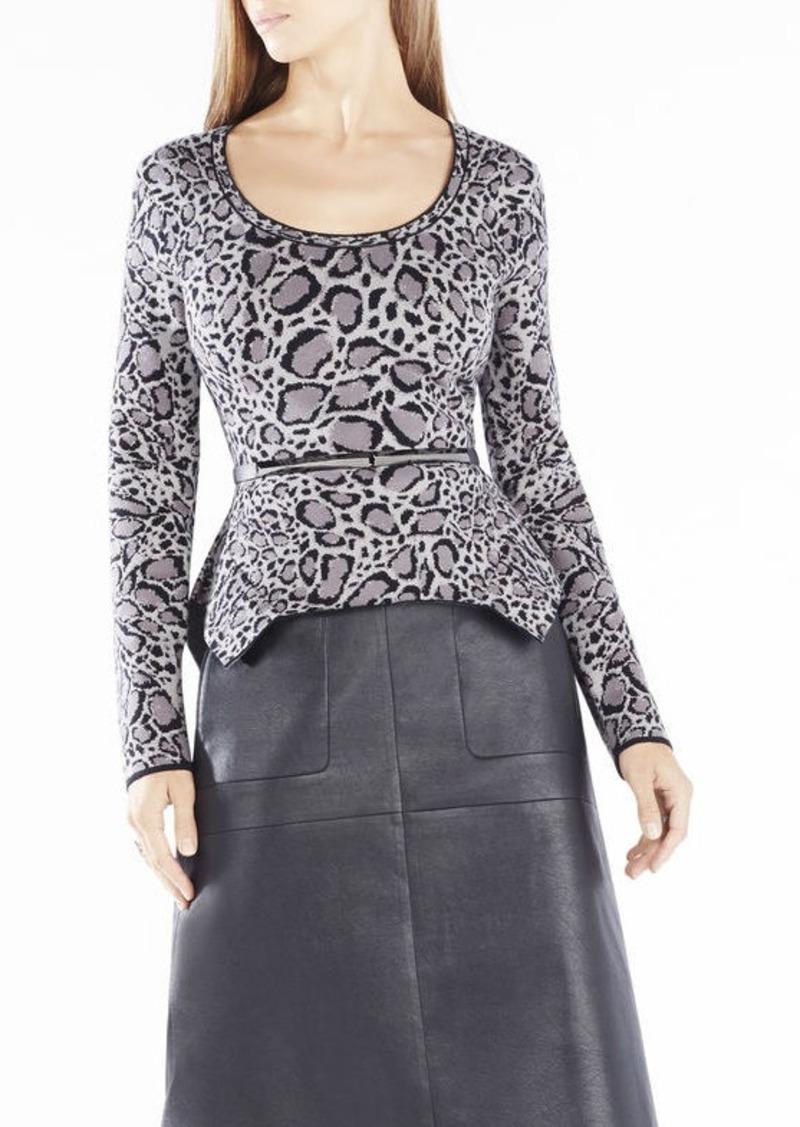 BCBG Elizabetta Ocelot Sweater Jacquard Peplum Top