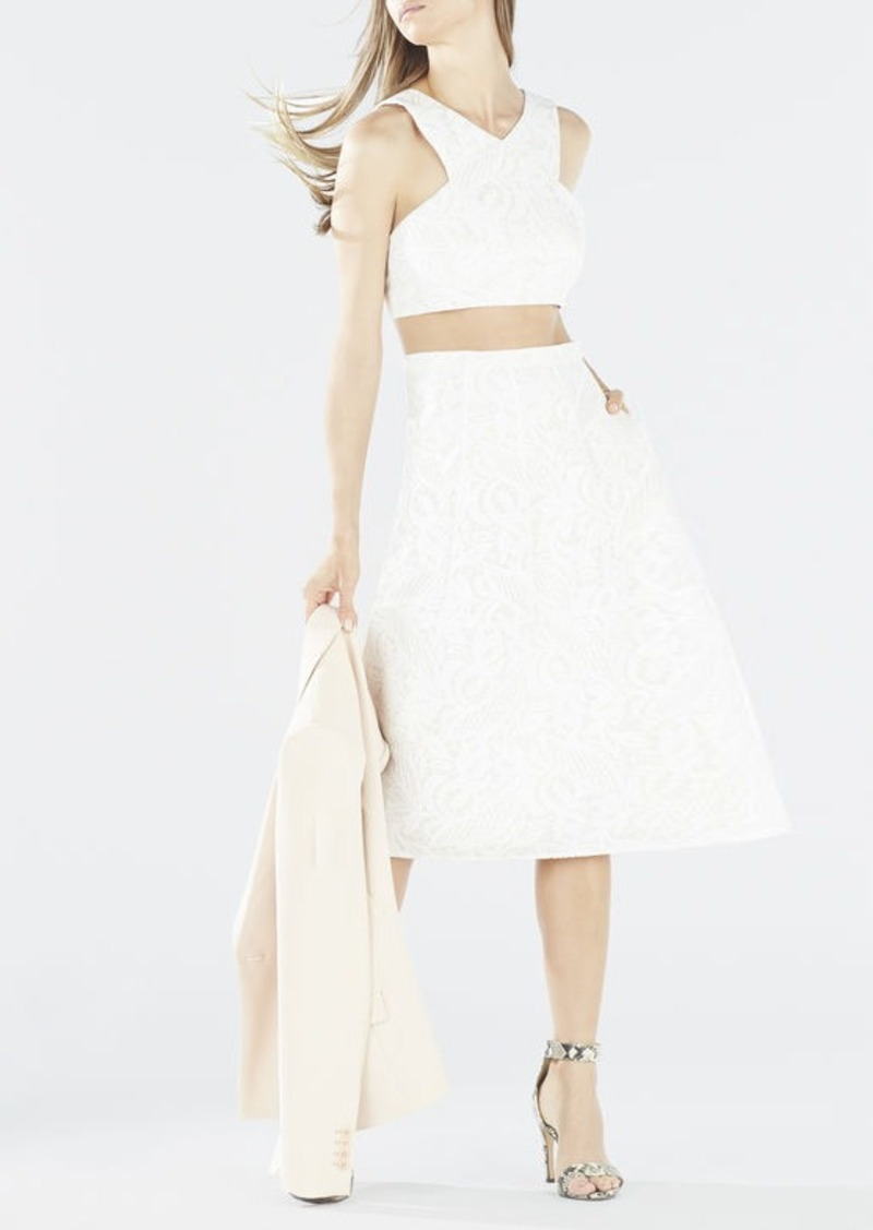 BCBG Ellyson Embroidered Mesh Two-Piece Dress