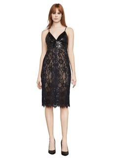 Elvita Sequined-Trimmed Lace Dress