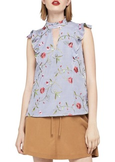 Embroidered Floral High Neck Sleeveless Top