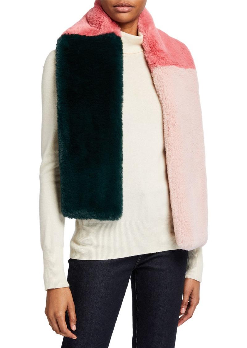 BCBG Faux-Fur Colorblock Scarf