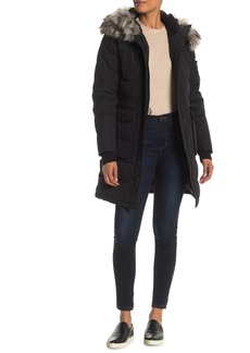 BCBG Faux Fur Trim Hooded Quilted Jacket