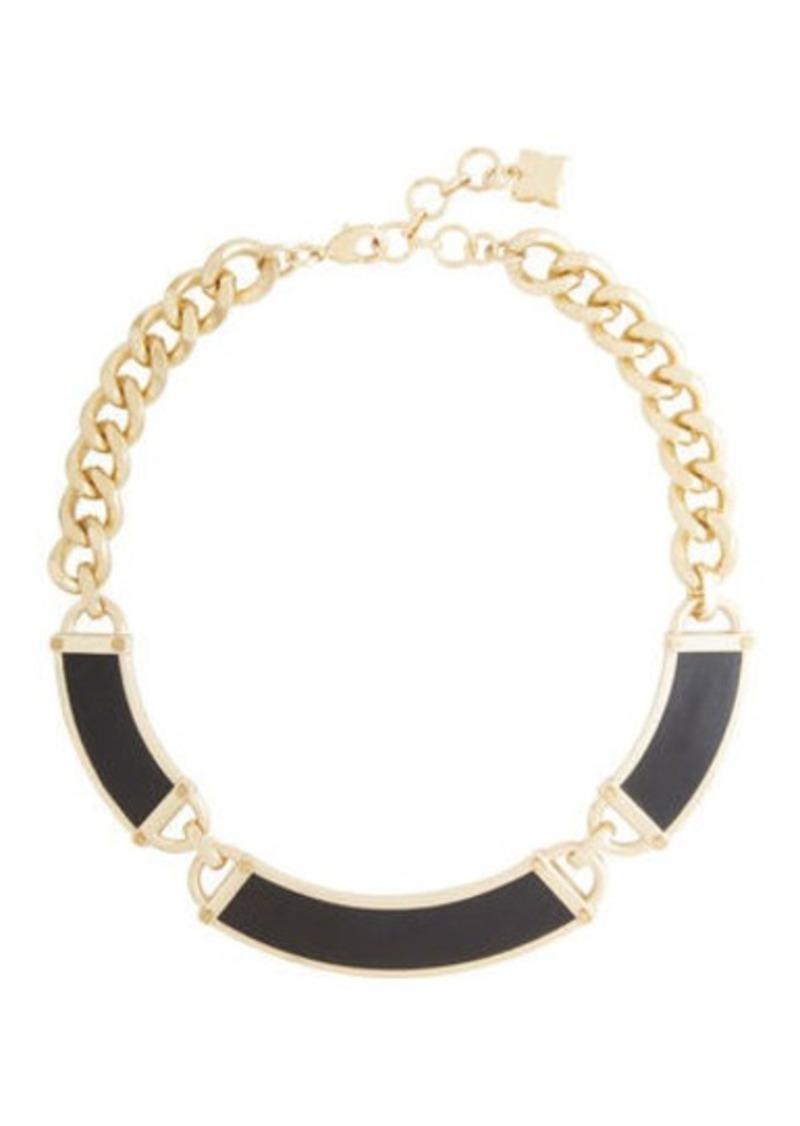 BCBG Faux-Leather Plate Necklace