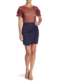 BCBG Faux Suede Shirred Wrap Skirt