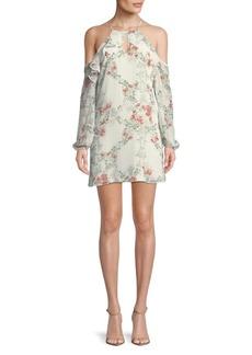 BCBG Floral Cold-Shoulder Shift Dress