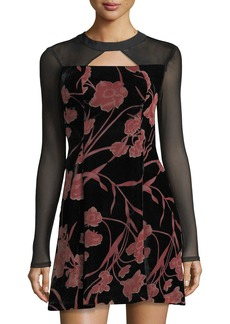 BCBG Floral-Print Velvet Fit-&-Flare Dress