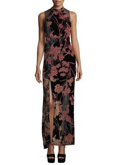 Floral-Print Velvet Gown