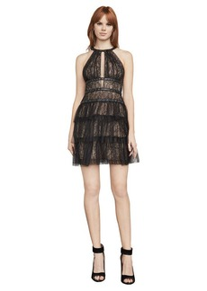 BCBG Hilaria Lace Grommet Halter Dress