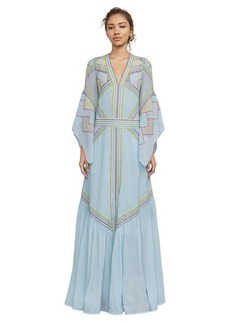 BCBG Imogen Embroidered Geometric Gown