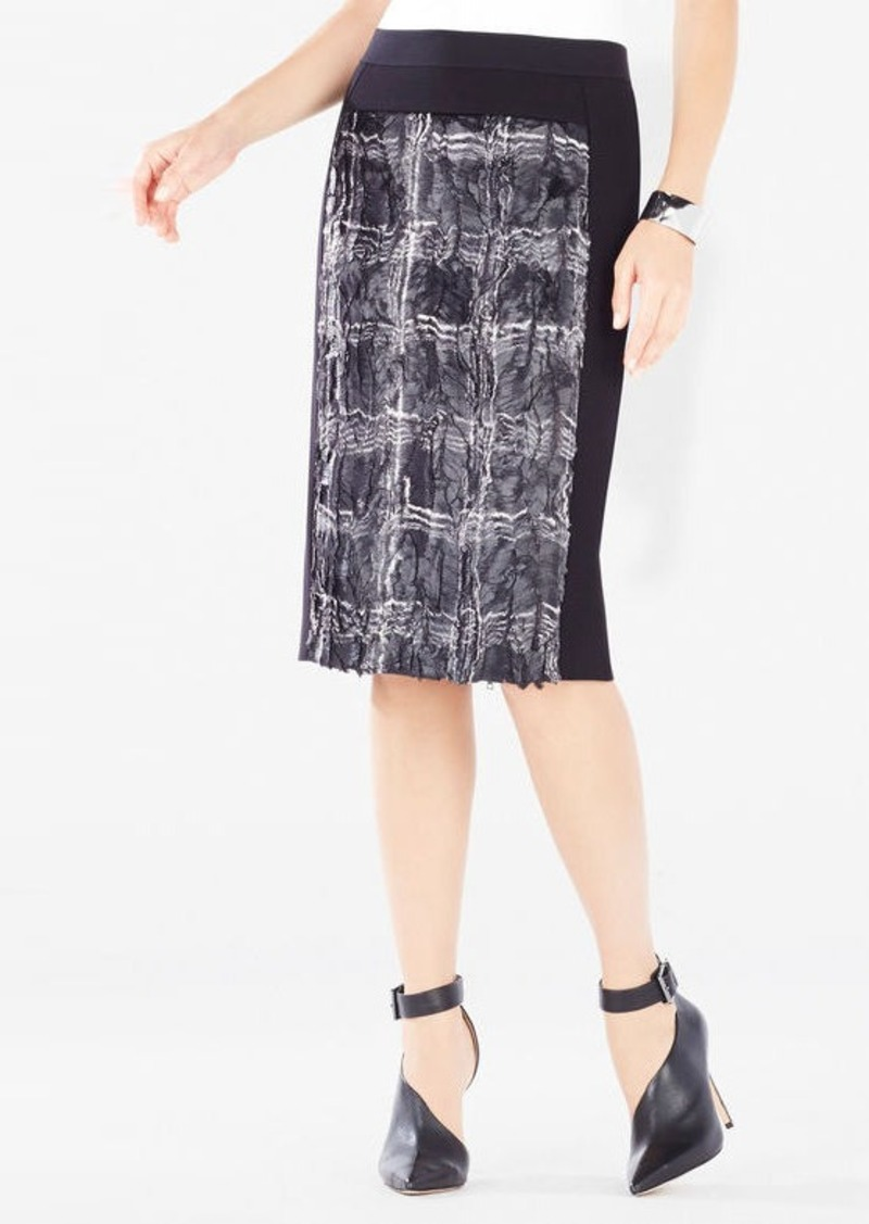 BCBG Ines Coated Plaid Faux-Fur Pencil Skirt