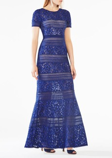 BCBG Ivetta Lace-Paneled Gown