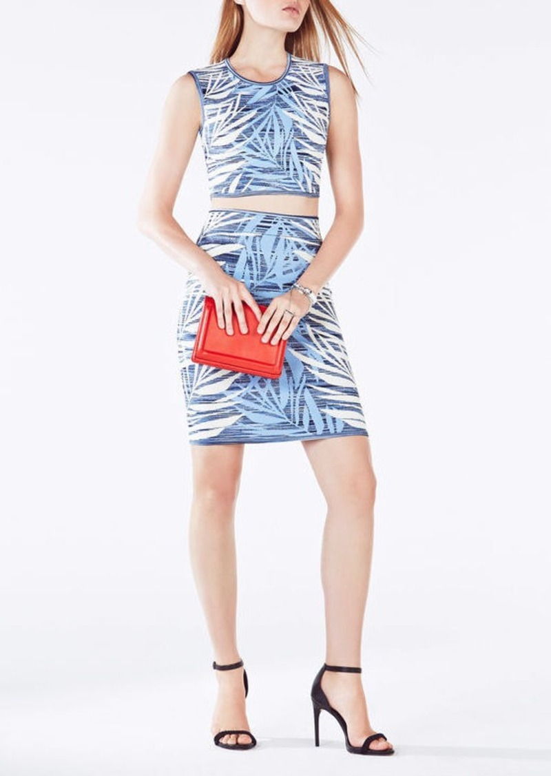 BCBG Jaelynnn Palms Print Knit Jacquard Crop Top