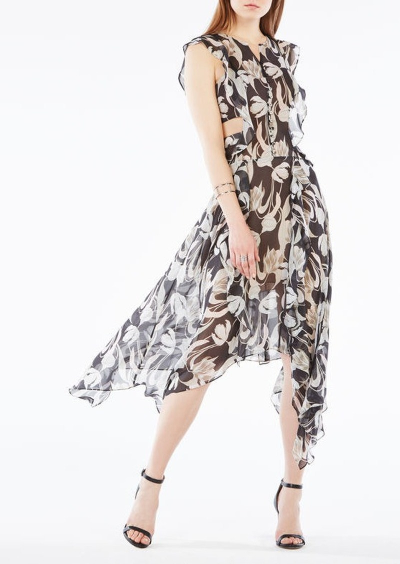BCBG Jann Tulip Print Cutout Silk Dress
