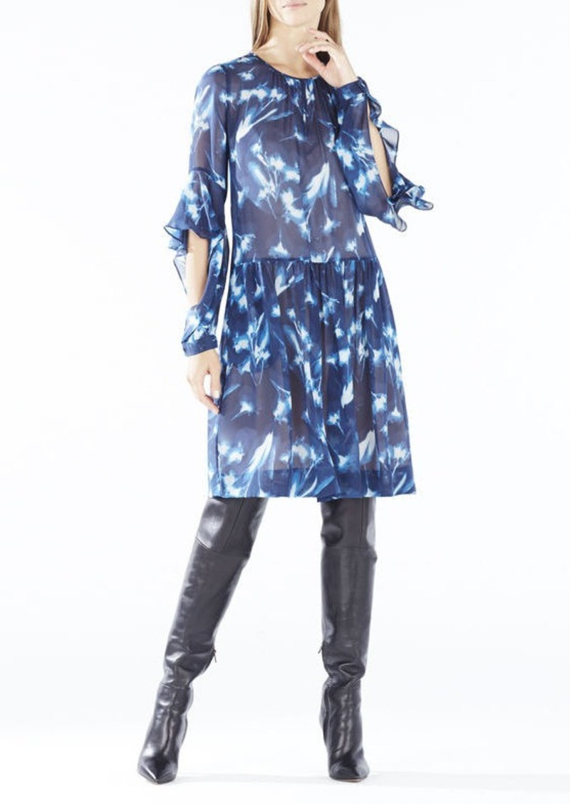 BCBG Jeannie X-Ray Floral Print Peasant Dress