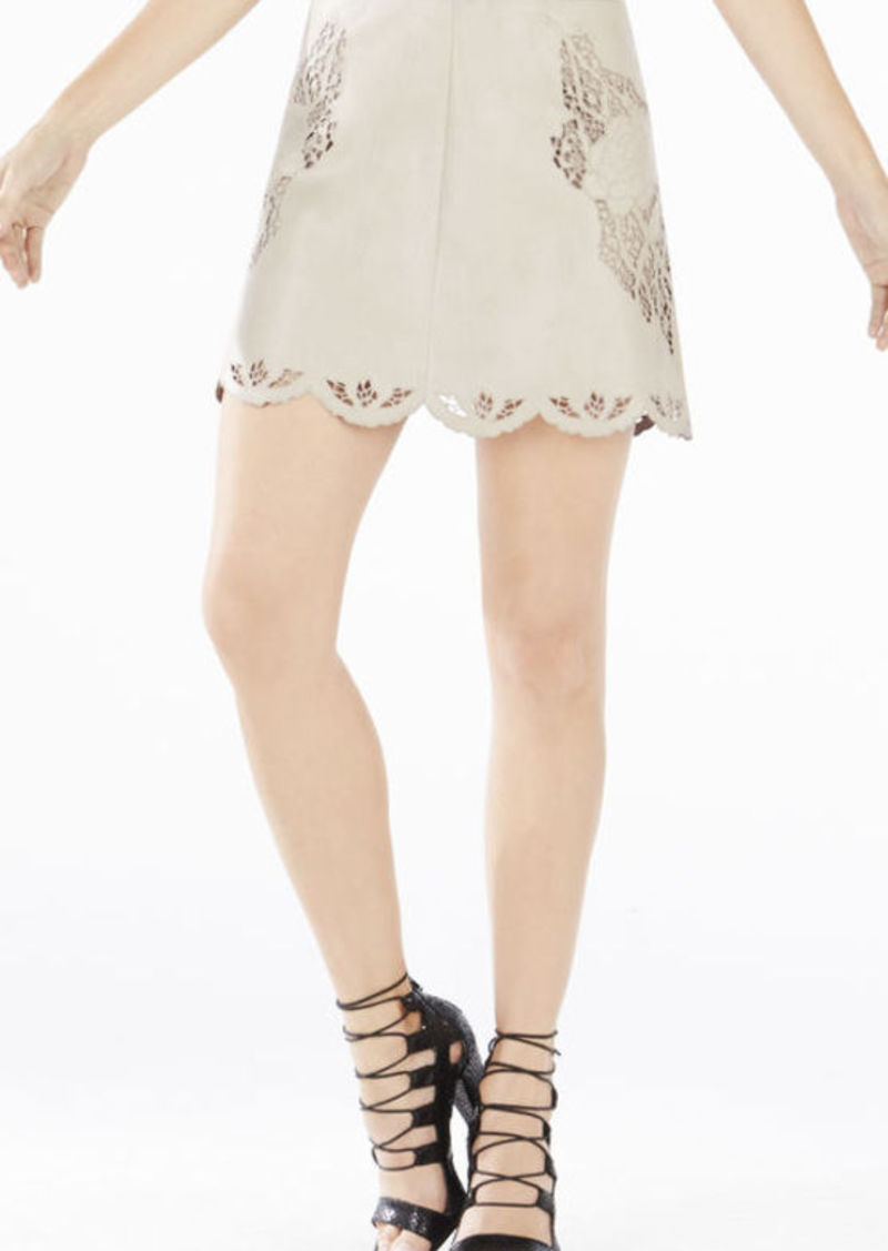 BCBG Jenhifer Embroidered Faux-Leather Miniskirt