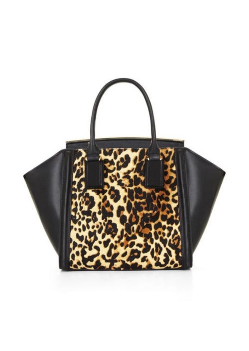 BCBG Joselyn Curved Bar Cheetah Print Satchel