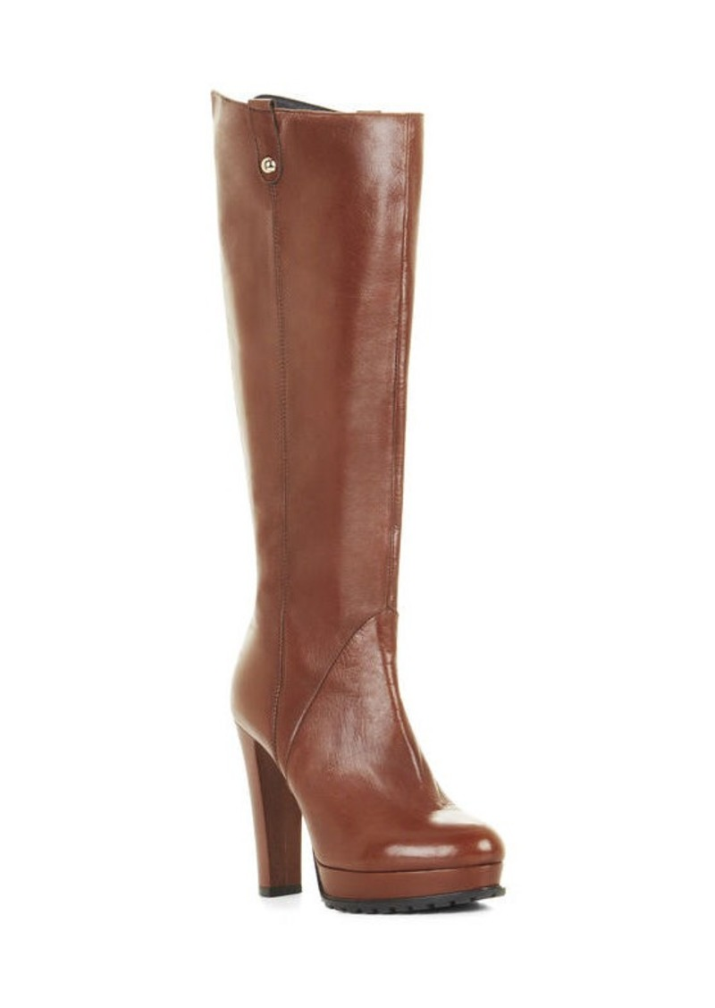 BCBG Kaelin High-Heel Platform Leather Knee Boots