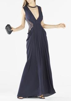 Kamara Deep-V Lace Draped Gown