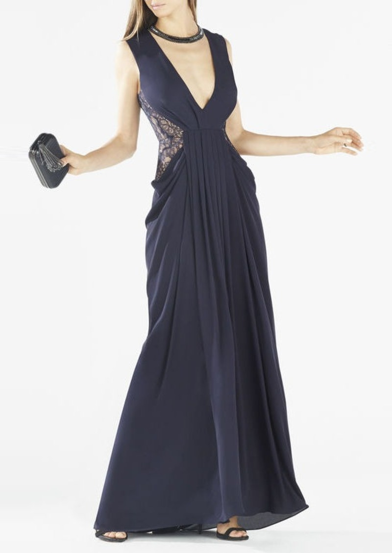BCBG Kamara Deep-V Lace Draped Gown