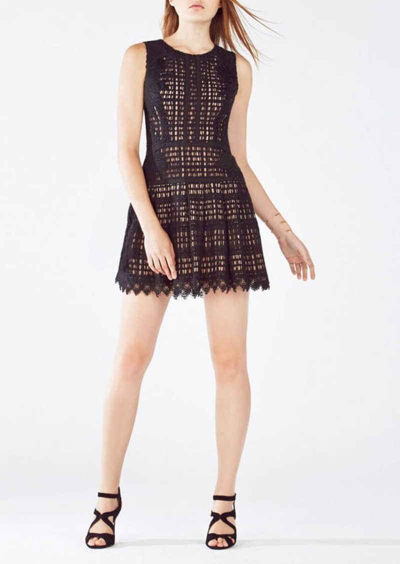 BCBG Katherina Embroidered Applique Grid Lace Dress