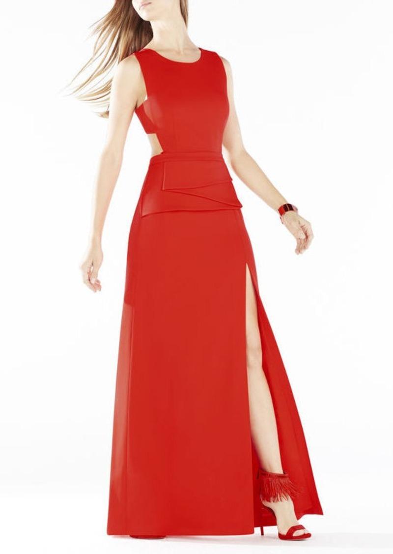 BCBG Kiara Sleeveless Peplum Gown