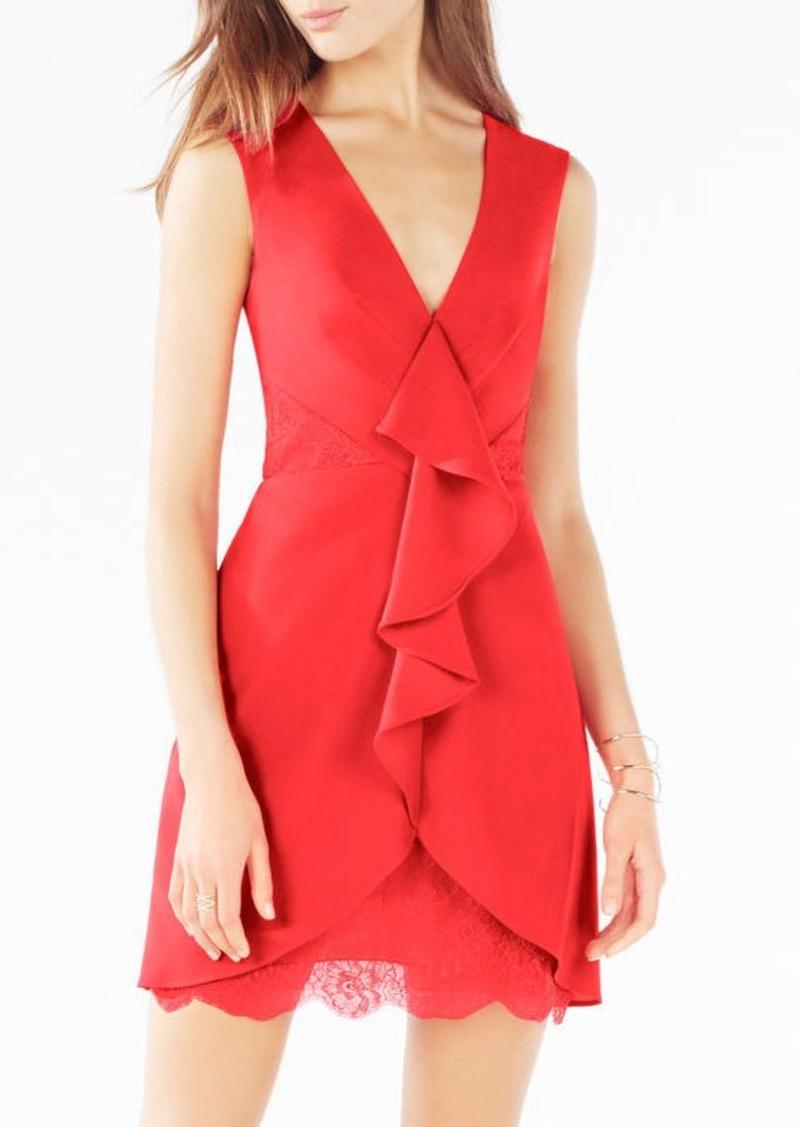BCBG Koralyn Lace-Blocked Ruffle Dress