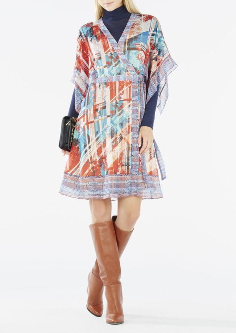 BCBG Krystie Print-Blocked Kimono Wrap Dress