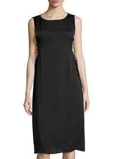 BCBG Lace-Up Side Woven Cocktail Dress