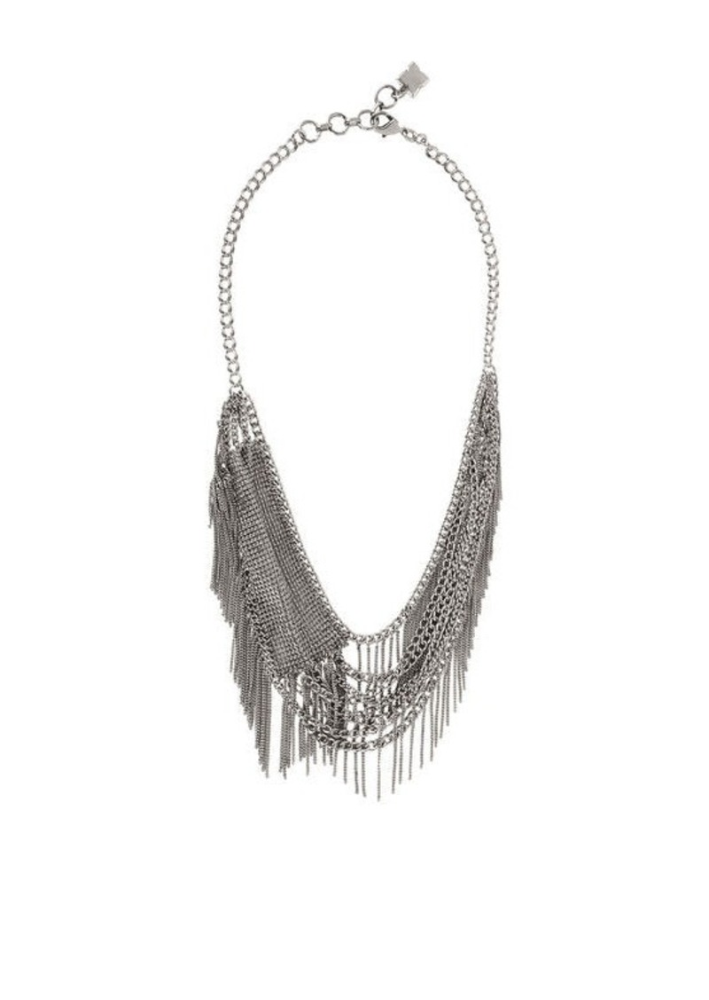 BCBG Layered Mesh Fringe Necklace
