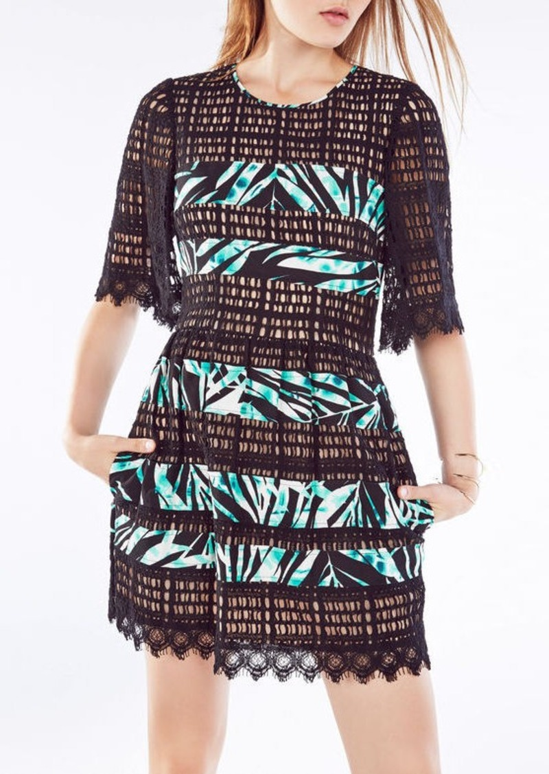 BCBG Layna Palms Print-Blocked Lace Dress