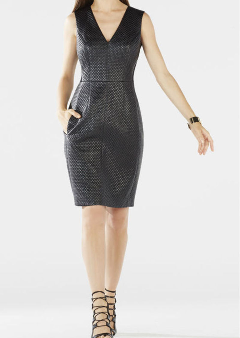 BCBG Livie Quilted Faux-Leather Dress