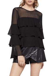 BCBG Long-Sleeve Tiered Ruffle Blouse