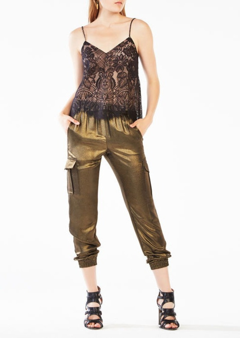 BCBG Mady Metallic Floral Lace Camisole
