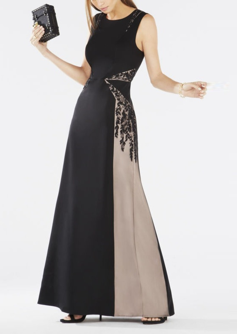BCBG Malik Color-Blocked Open-Back Gown