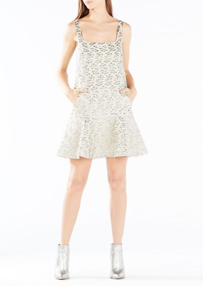 BCBG Malika Metallic Cloque Jacquard Dress