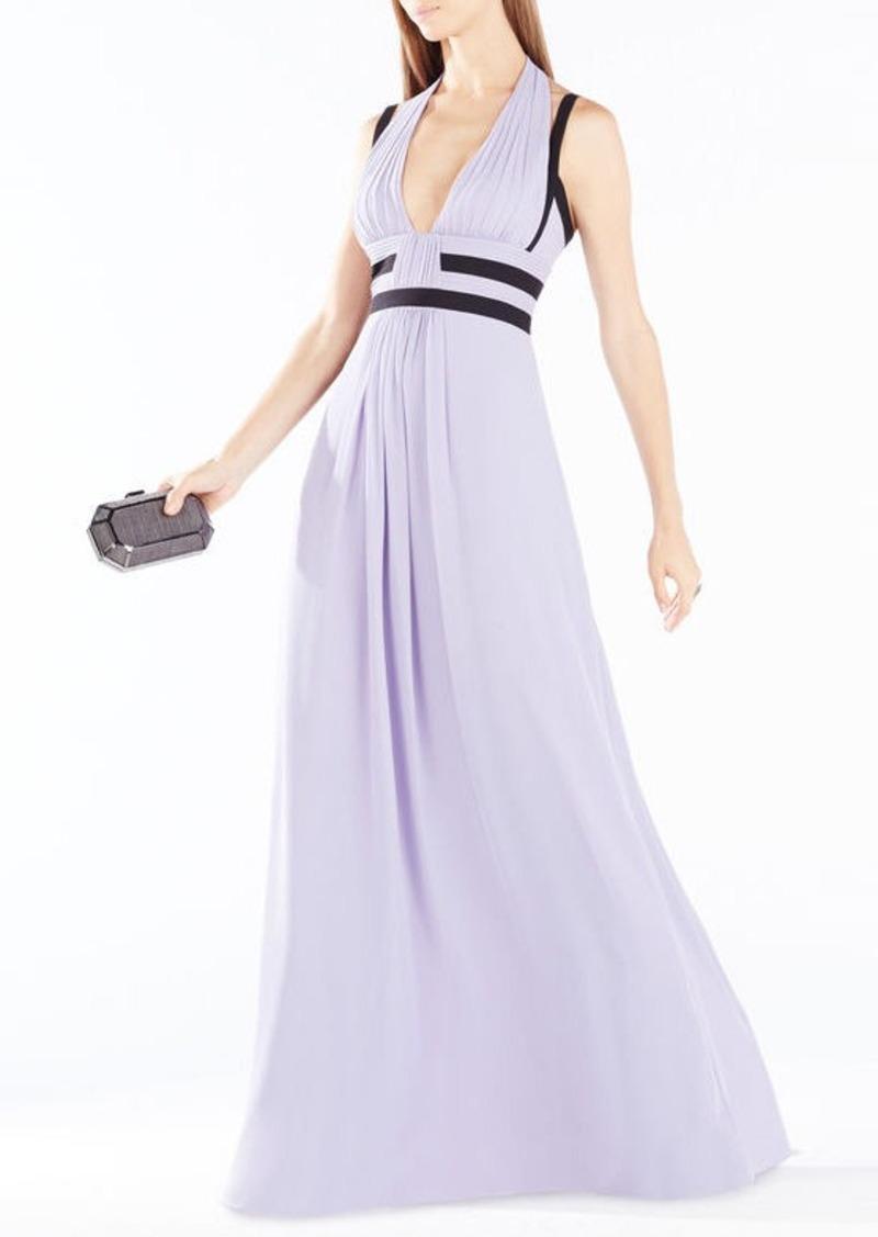 BCBG Margarette Contrast Trim Pleated Gown