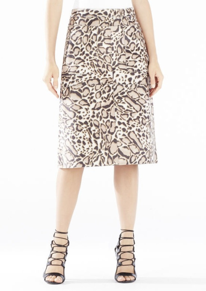 BCBG Margaux Spotted Ocelot Faux-Fur Skirt