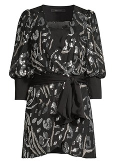 BCBG Max Azria Abstract Sequin Blouson Mini Wrap Dress