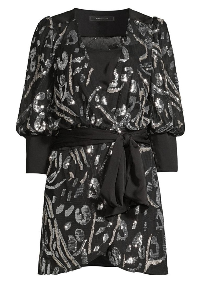 BCBG Max Azria Abstract Sequin Blouson Mini Wrap Dress